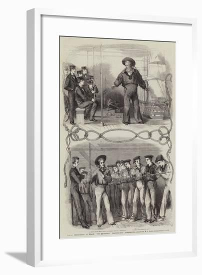 Naval Instruction on Board The Britannia Training-Ship, Portsmouth--Framed Giclee Print