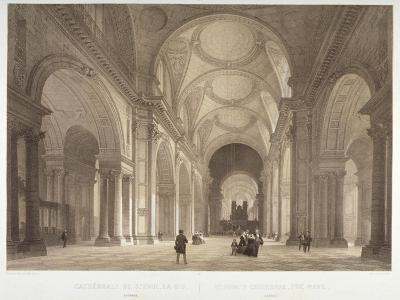 Nave of St Paul's Cathedral, Looking East Towards the Choir, City of London, 1850-Jules Louis Arnout-Giclee Print