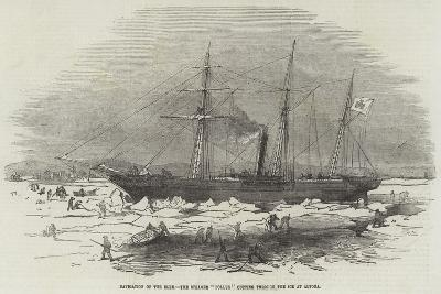 Navigation of the Elbe, the Steamer Pollux Cutting Through the Ice at Altona--Giclee Print