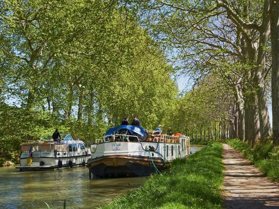 Navigation on Canal du Midi, UNESCO World Heritage Site, Languedoc Roussillon, France-Tuul-Photographic Print