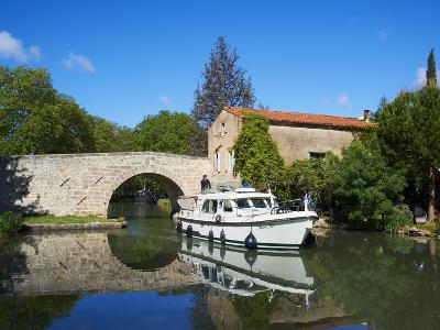 Navigation on Canal du Midi, UNESCO World Heritage Site, Pigasse, Languedoc Roussillon, France-Tuul-Photographic Print