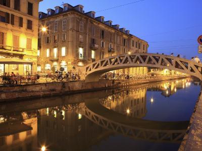 Naviglio Grande at Dusk, Milan, Lombardy, Italy, Europe-Vincenzo Lombardo-Photographic Print