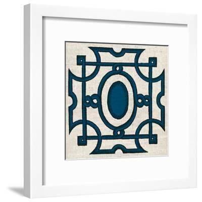 Navy Almond Woodcut D-Tina Carlson-Framed Art Print