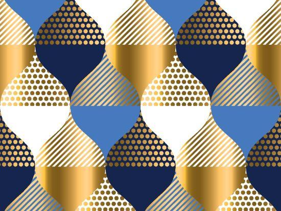 Navy Blue And Gold Luxury Geometry Pattern Seamless Pattern Vector