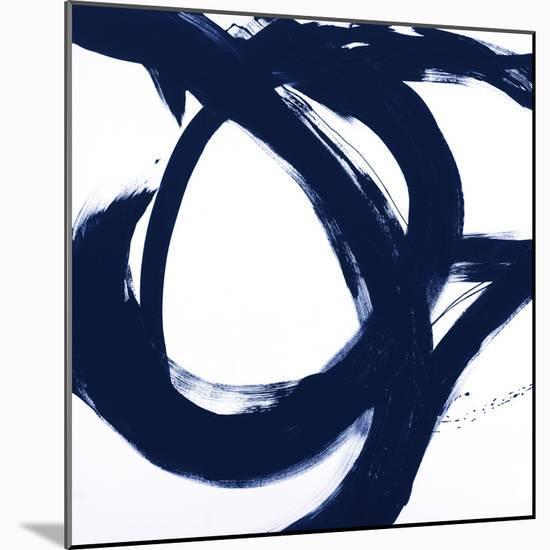 Navy Circular Strokes I-Megan Morris-Mounted Art Print