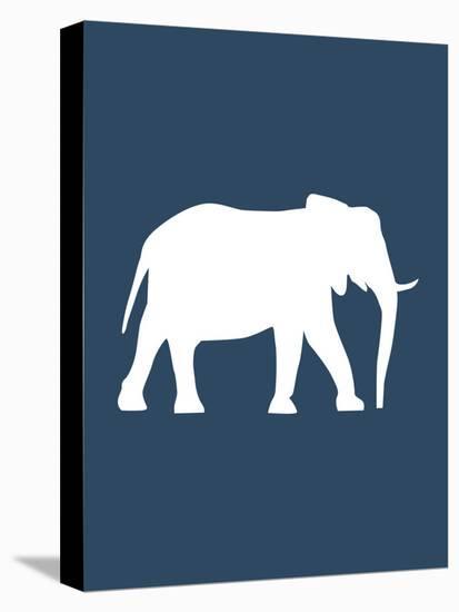 Navy Elephant-Jetty Printables-Stretched Canvas Print