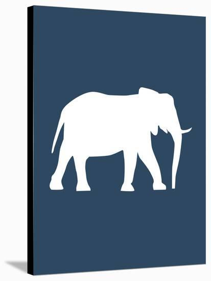 Navy Elephant-Jetty Printables-Stretched Canvas Print