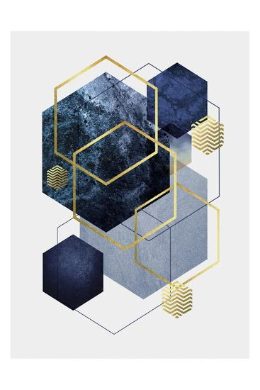 Navy Gold Geo 2-Urban Epiphany-Art Print