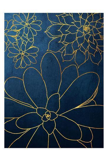 Navy Gold Succulent 2-Urban Epiphany-Art Print