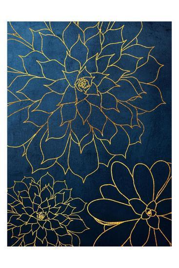 Navy Gold Succulent 3-Urban Epiphany-Art Print