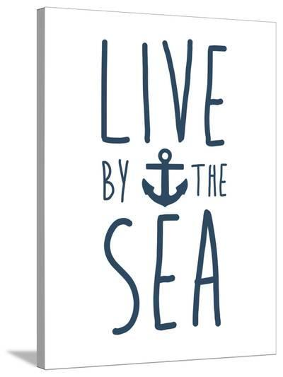 Navy Live By The Sea-Jetty Printables-Stretched Canvas Print