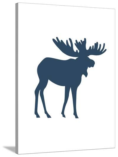 Navy Moose Moose-Jetty Printables-Stretched Canvas Print