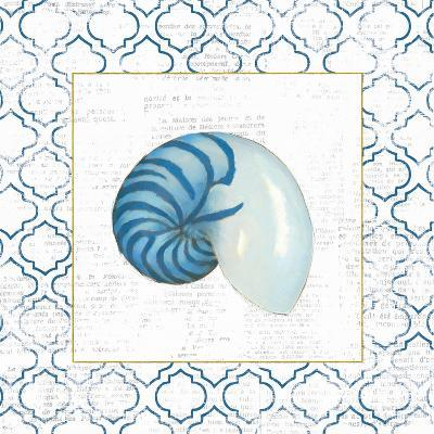 Navy Nautilus Shell on Newsprint with Gold-Emily Adams-Art Print
