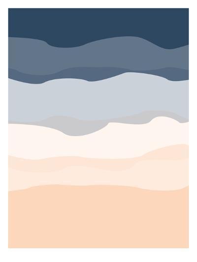 Navy Peach Abstract-Jetty Printables-Art Print