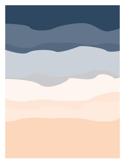 Navy Peach Abstract-Jetty Printables-Art Print