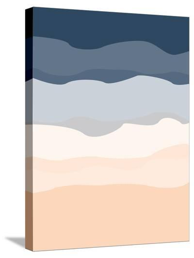 Navy Peach Abstract-Jetty Printables-Stretched Canvas Print