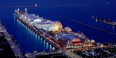 Navy Pier Lit Up at Dusk, Lake Michigan, Chicago, Cook County, Illinois, USA