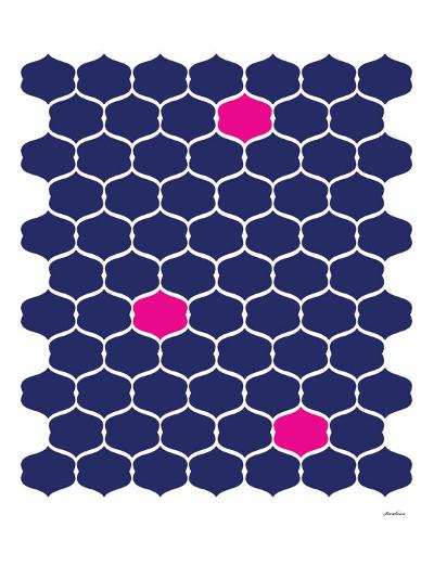 Navy Pink Trellis-Avalisa-Art Print
