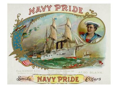 Navy Pride Brand Cigar Box Label-Lantern Press-Art Print