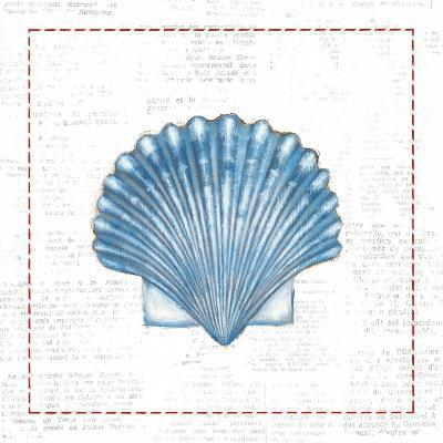 Navy Scallop Shell on Newsprint with Red-Emily Adams-Art Print
