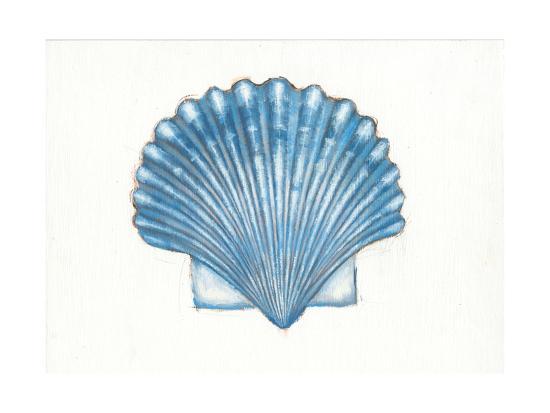 Navy Scallop Shell-Emily Adams-Art Print