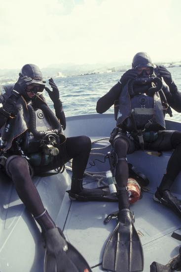 Navy Seals Combat Swimmers Donn their Equipment in a Utility Boat-Stocktrek Images-Photographic Print