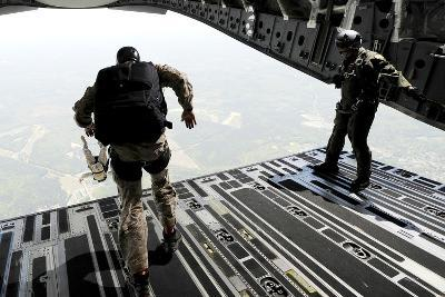 Navy Seals Jump from the Ramp of a C-17 Globemaster Iii over Virginia-Stocktrek Images-Photographic Print