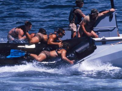 Navy SEALs Practice High Speed Boat Cast And Recovery-Stocktrek Images-Photographic Print