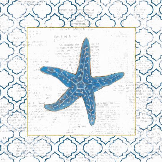 Navy Starfish on Newsprint with Gold-Emily Adams-Art Print