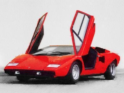 1974 Lamborghini Countach Open Doors Watercolor