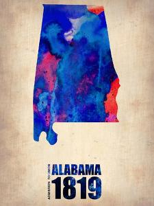 Alabama Watercolor Map by NaxArt
