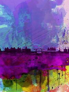 Amsterdam Watercolor Skyline by NaxArt
