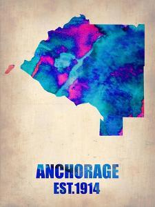 Anchorage Watercolor Map by NaxArt