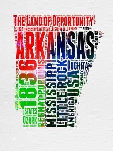 Arkansas Watercolor Word Cloud by NaxArt