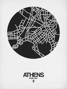 Athens Street Map Black on White by NaxArt