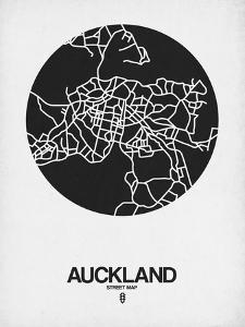 Auckland Street Map Black on White by NaxArt