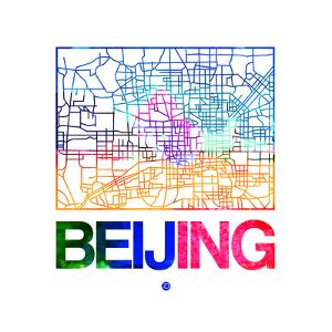 Beijing Watercolor Street Map by NaxArt