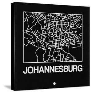 Black Map of Johannesburg by NaxArt