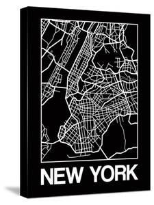 Black Map of New York by NaxArt