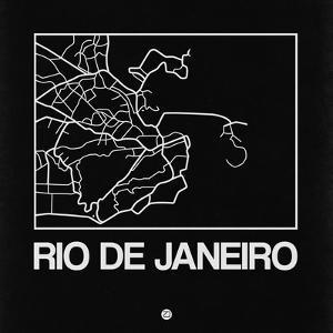 Black Map of Rio De Janeiro by NaxArt