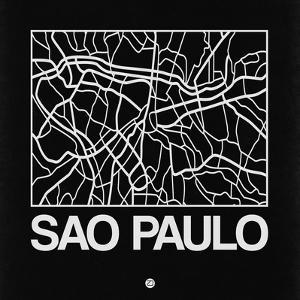 Black Map of Sao Paulo by NaxArt