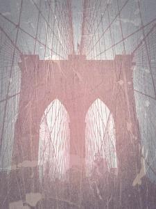 Brooklyn Bridge Red by NaxArt