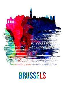 Brussels Skyline Brush Stroke - Watercolor by NaxArt