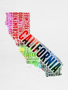 California Watercolor Word Cloud by NaxArt