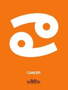 Cancer Zodiac Sign White on Orange by NaxArt