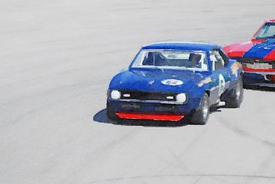 Chevy Camaro on Race Track Watercolor