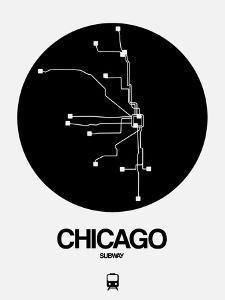 Chicago Black Subway Map by NaxArt