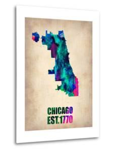 Chicago Watercolor Map by NaxArt