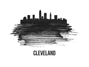 Cleveland Skyline Brush Stroke - Black II by NaxArt