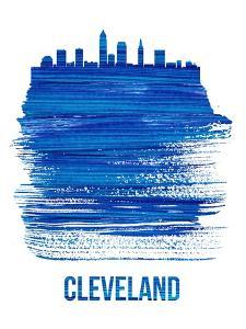 Cleveland Skyline Brush Stroke - Blue by NaxArt